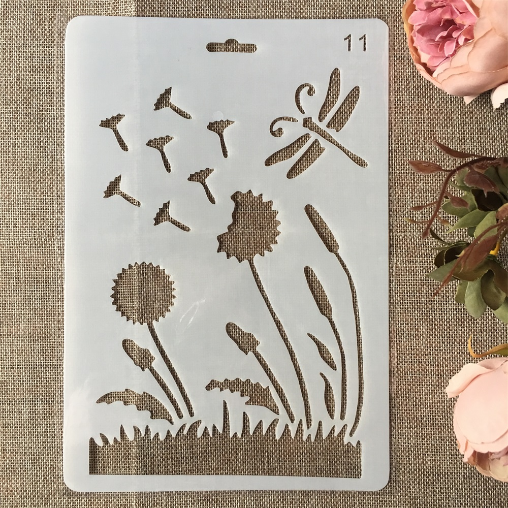 New 26cm Dandelion Dragonfly DIY Craft Layering Stencils Painting Scrapbooking Stamping Embossing Album Paper Card Template