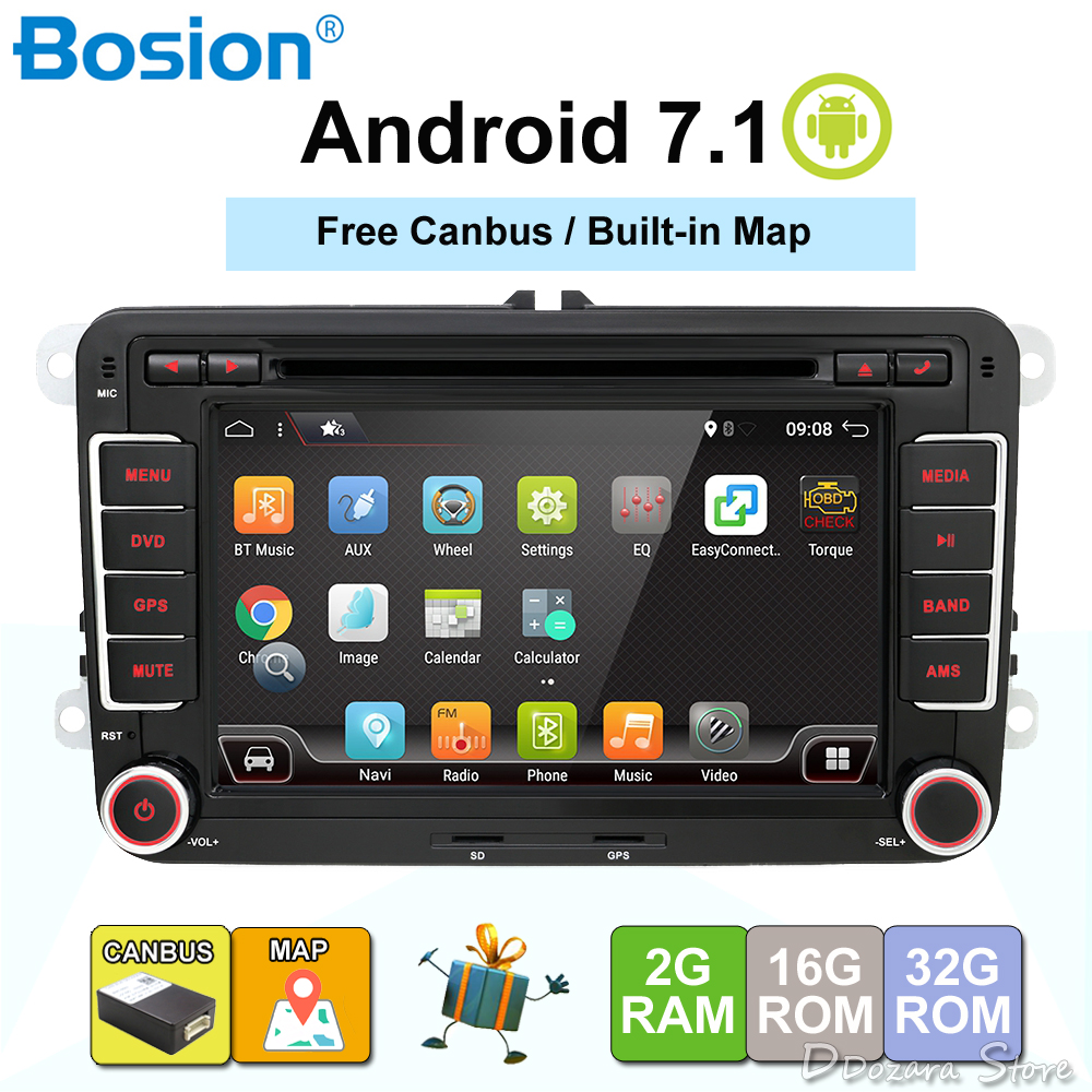 3g Quad Core 2 din Android 7.1 Car DVD player per VW GOLF 5 Golf 6 POLO PASSAT SKODA CC JETTA TIGUAN TOURAN GPS