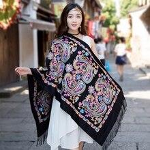 Luxury Scarf Women 2019 Embroider Flower Pashmina Cashmere Female Winter Warm Tassels Shawl Fashion Scarves