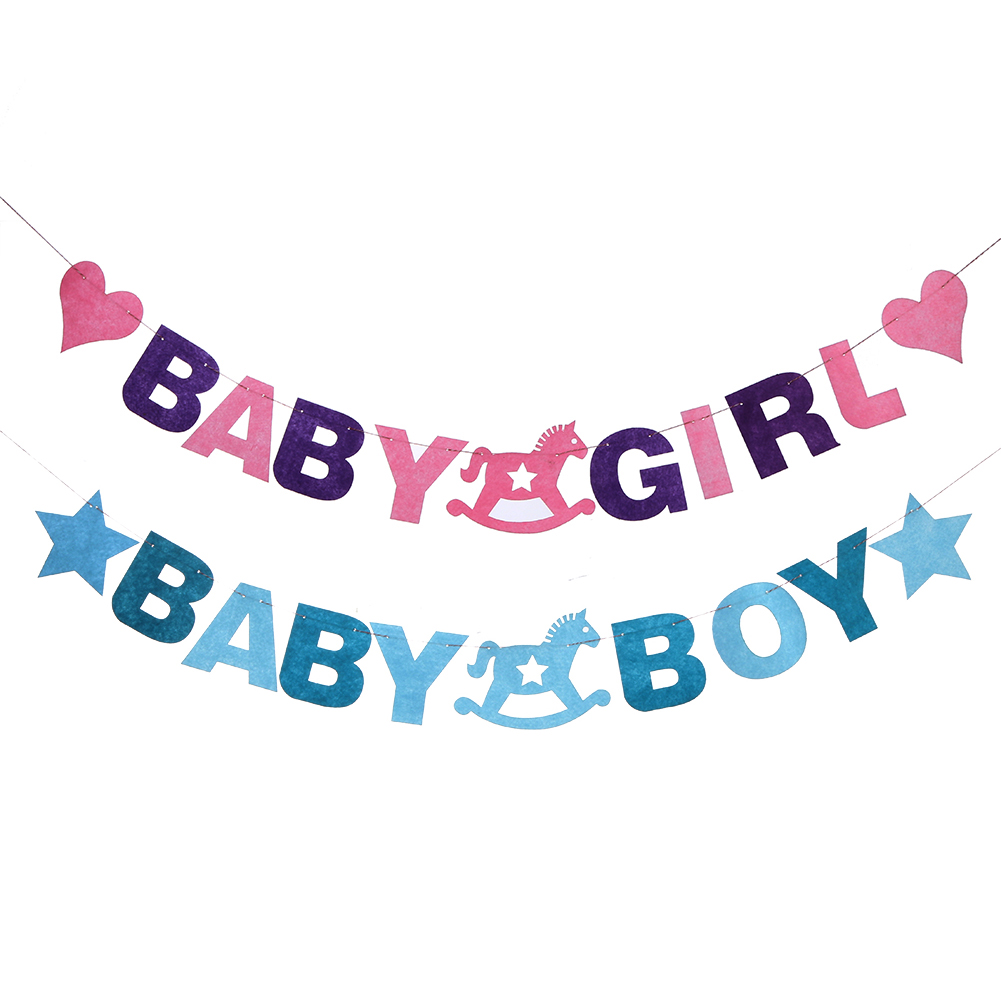 Baby Shower 2.88M Baby Boy Girl Felt Banner Party Baptism
