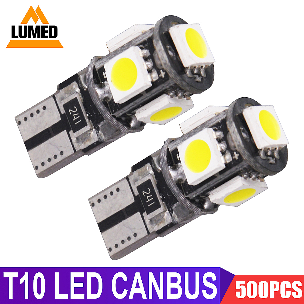 500x T10 LED W5W Car light Bulb Luces 5 5050 LED Para Auto Interior Side lights