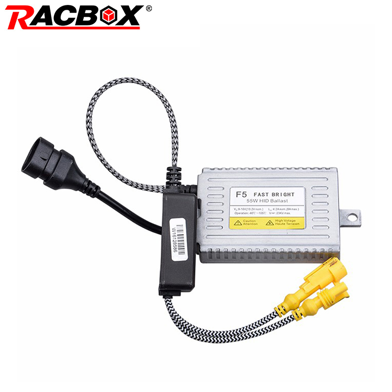 RACBOX F5 55W Fast Bright Xenon HID Slim Ballast 0.1s Quick Start Digital Ballasts 12V 50W for Car HID Xenon Headlights Bulb Kit