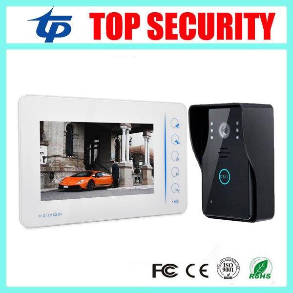Top security village 7 inch color video door phone door bell intercom system with 4 channel camera input touch video door phone