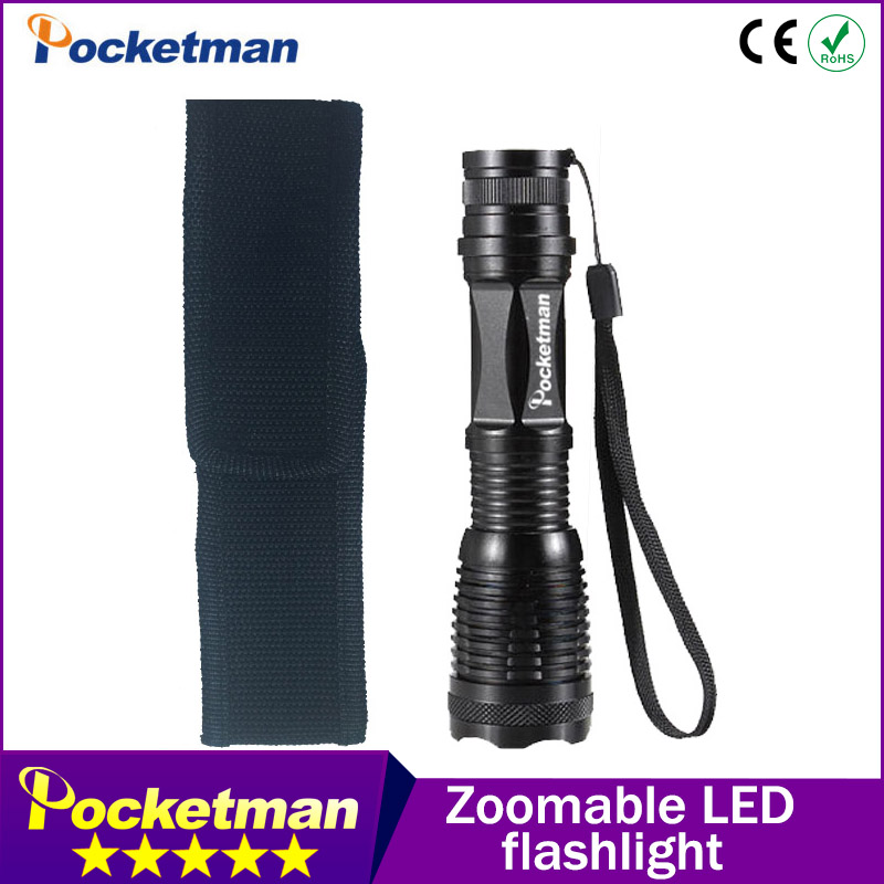 Flashlight CREE XM-L T6 4000 Lumens High Power LED torch Flashlight Linternas Zoomable With a Portable Sleeve E17 Lampe Torche led flashlight torch e17 cree xm l t6 3800 lumens high power focus lamp zoomable light with one battery charger and sleeve