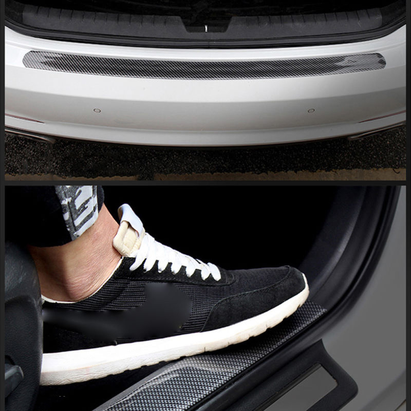 cicisame Car Sticker Carbon Fiber Rubber DIY Door Sill Protector Edge Guard Strip 10CM1M