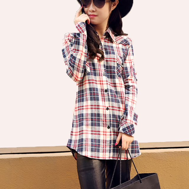 2015 Brand Plaid Shirts Cheap New Turndown Collar Long Sleeve Fitted Plaid Shirts for Women Cotton Flannel Tops camisa feminina