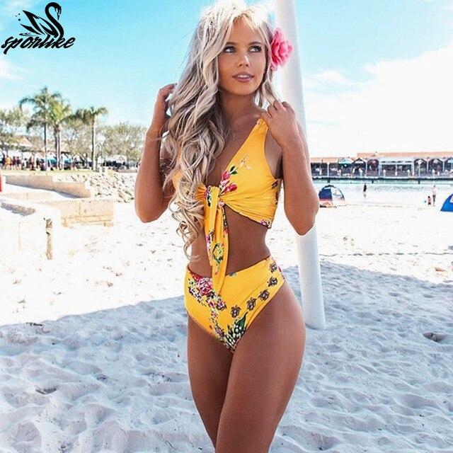 Badpak Zwemmen.Hoge Taille Badpak 2019 Nieuwe Sexy Print Bikini Vrouwen Badmode