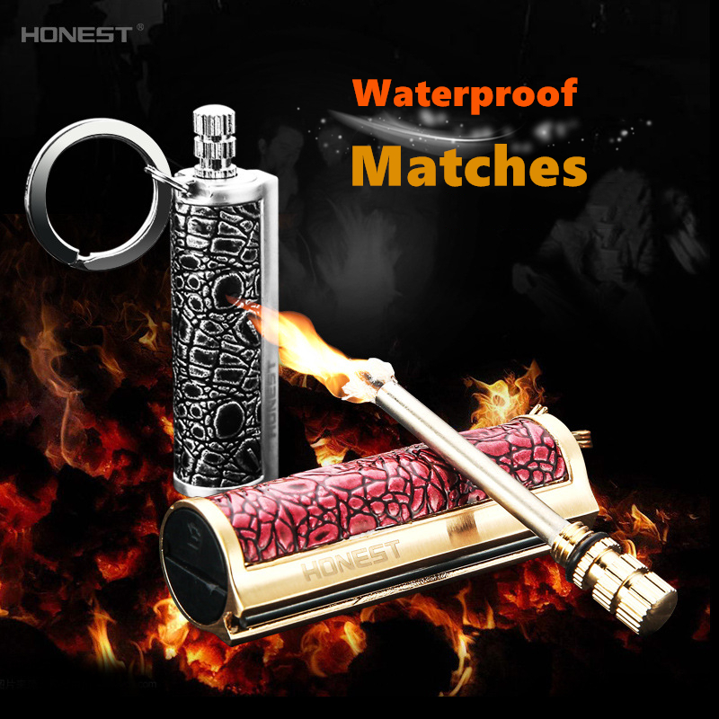 Luxury Metal Durable Waterproof Matches Flint Stone Cigarette <font><b>Lighters</b></font> Key Ring Instant <font><b>Emergency</b></font> Fire Starter Safety Matchstick image