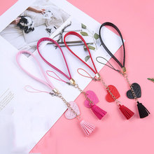 4 PCS/Lot Heart PU Wrist Strap Lanyard Short Mobile Phone Rope For Keys Case Holder Phones Cord Anti-lost