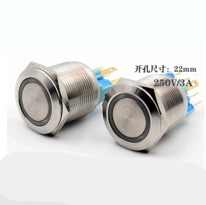 1PCS Stainless Steel Metal LED 22mm Push Button Switch 220v Car Ring Light Switch Self Locking 1pcs 22mm 25mm size self locking self healing stainless steel metal button switch waterproof c type 15a high power current