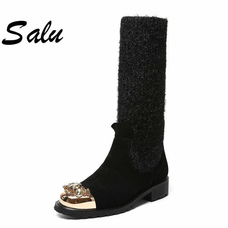 Salu Winter Mid Kalf Laarzen Vrouwen Lederen Platform Med Hak Wol Warm Dames Schoenen Mode Motorlaarzen