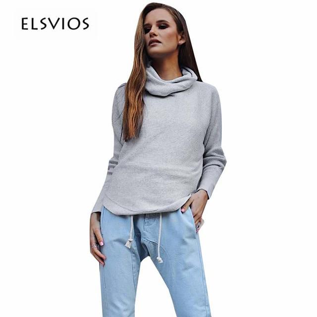3ed05e861 ELSVIOS 2017 Fashion Autumn And Winter High Collar Sweaters Shirt ...