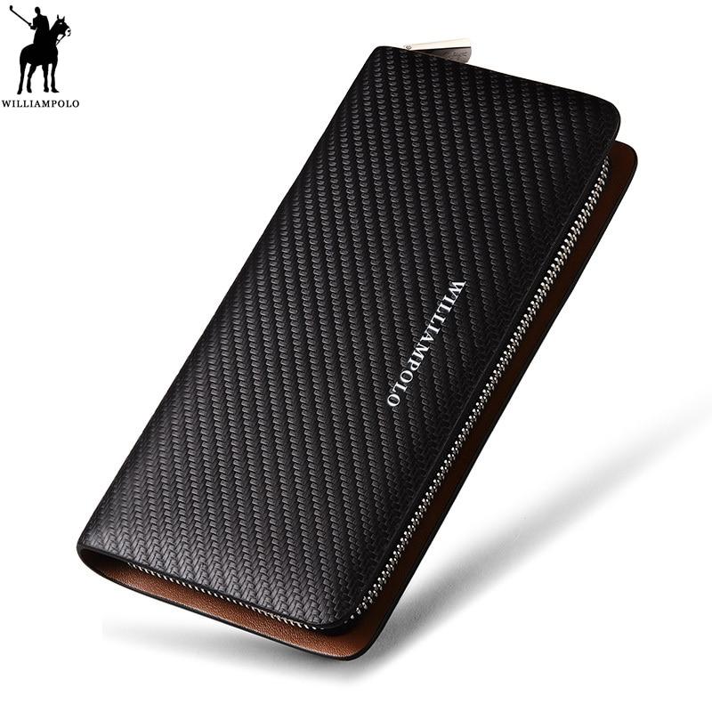 WILLIAMPOLO Pattern Wallet Long Famous Men Luxury 100%Leather Brand Original Knitting