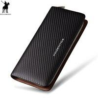 WILLIAMPOLO Original Brand 100% Leather Wallet Men Famous Long Knitting Pattern Wallet Men Luxury Brand Wallets #118