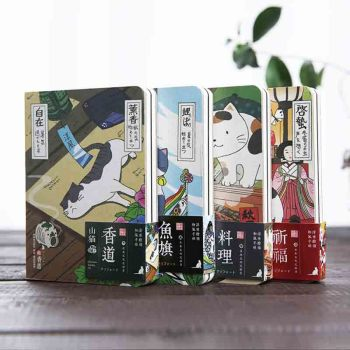 Japanese Cute Cat Notebook Creative Cartoon Hardcover Planner Notepad Diary Journal Supplies Office Decoration Stationery vintage hardcover notebook van gogh oil painting cover diary pad creative office decoration stationery bullet journal supplies