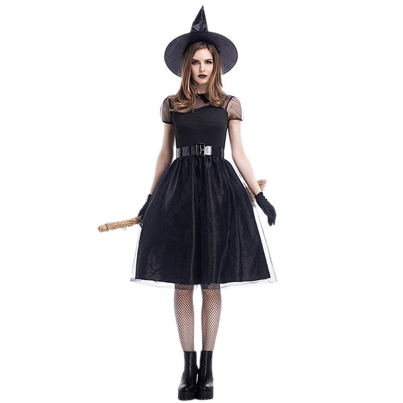 a5ab69a48f4 Купить Хэллоуин Карнавал вечерние черный Сетчатое платье шляпу ...
