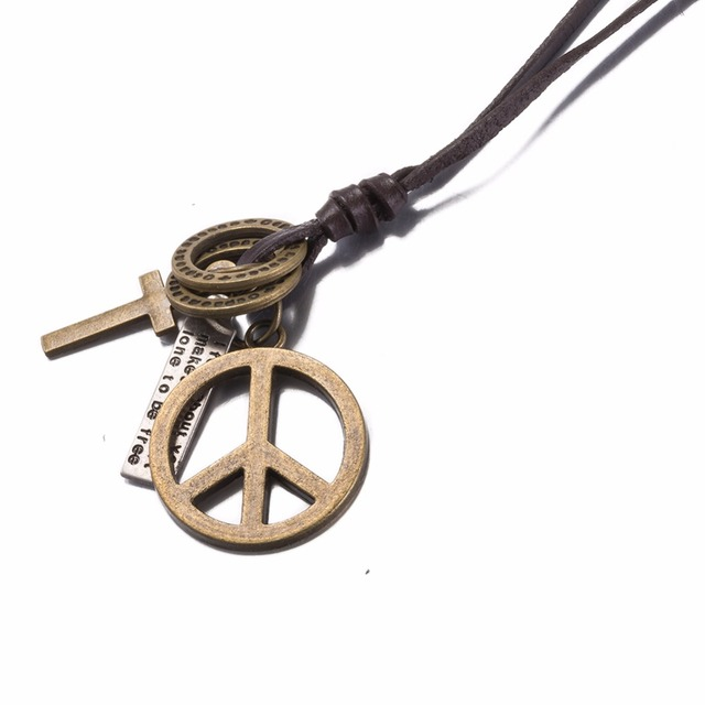 Antique vintage cross dog tag hollow peace symbol pendant necklace antique vintage cross dog tag hollow peace symbol pendant necklace men long brown leather necklace mozeypictures Choice Image