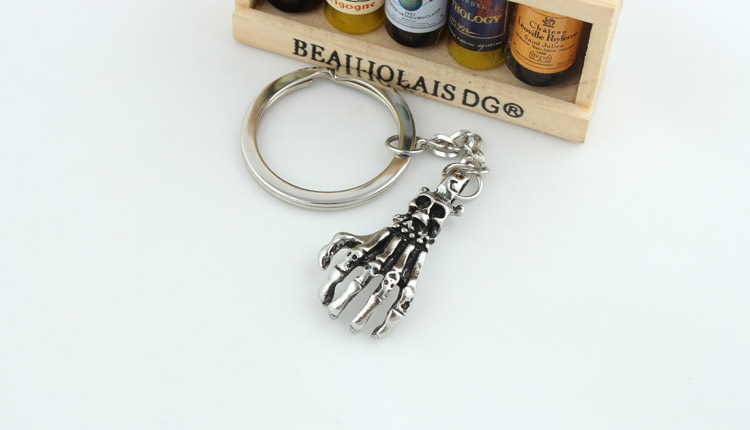 Skull Head & Hand Bone Keychain