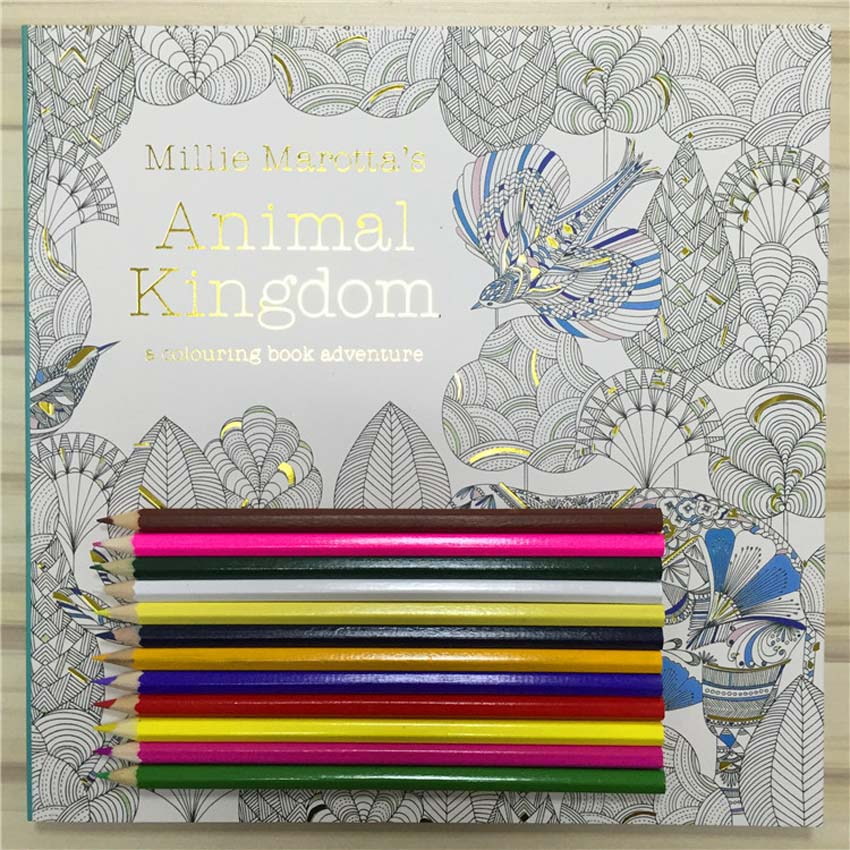 NEW Secret Garden 3 Animal Kingdom  Coloring Book Adult Hand-drawn Pencils 12 Pcs Relieve Stress Graffiti Painting Drawing Book
