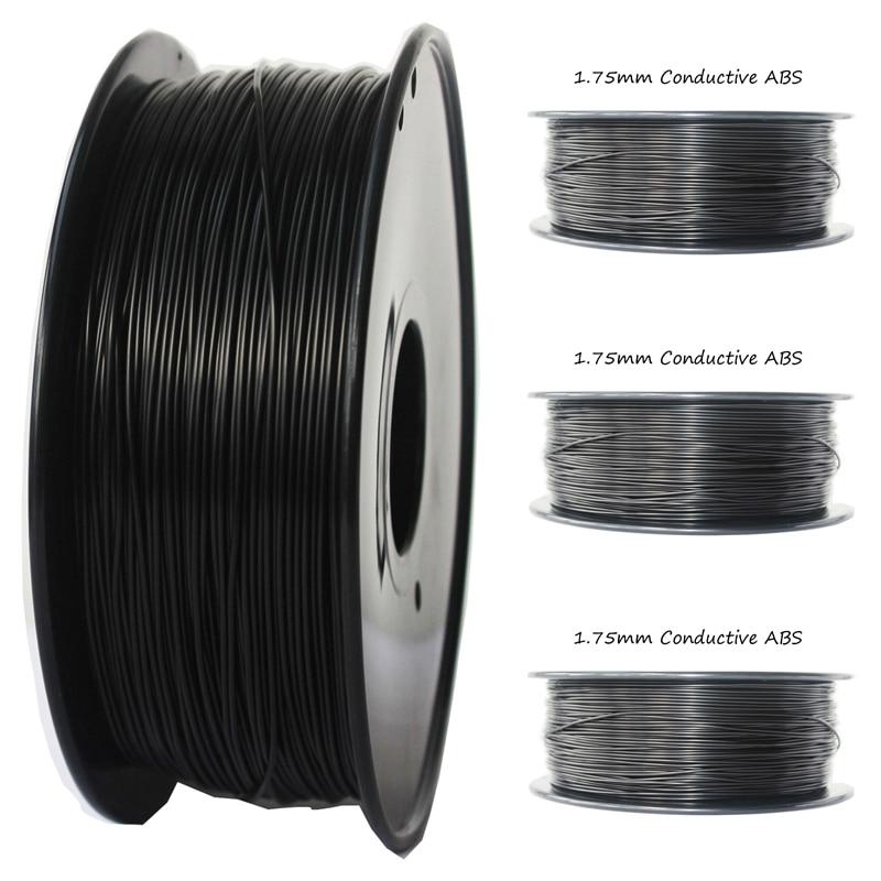 Filament conducteur antistatique d'abs de 1.75mm 1 KG couleur noire 3d température d'impression de filament d'imprimante 230-260 ABS conducteur