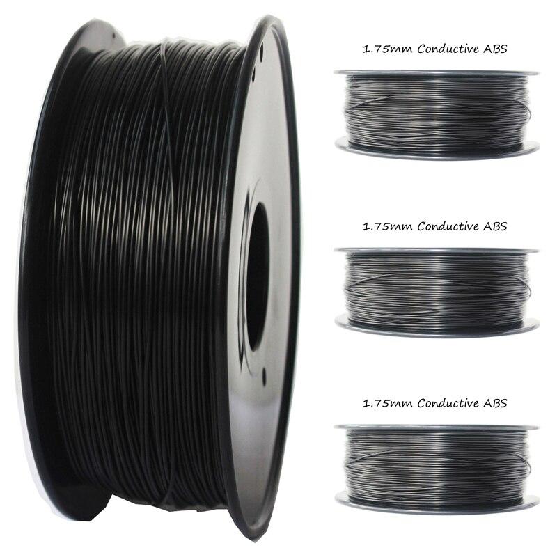 एंटी-स्टैटिक 1.75 मिमी कंडक्टिव एबीएस फिलामेंट 1 KG ब्लैक कलर 3 डी प्रिंटर फिलामेंट प्रिंटिंग तापमान 230-260 कंडक्टिव एबीएस