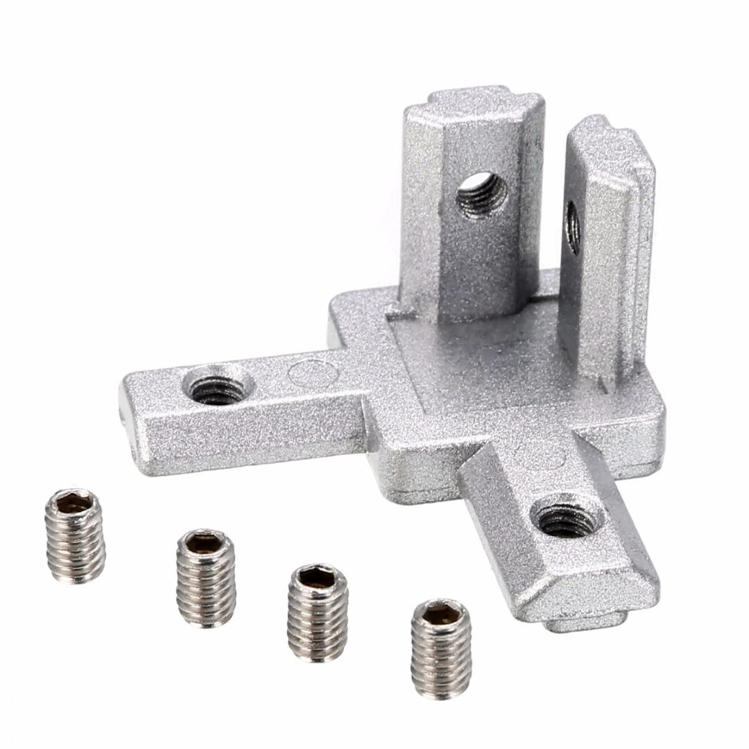 4pcs 2020 T Slot 3-way Corner Bracket Aluminum Profile Silver Plain Finish With 16pcs Screw For 3D Printer