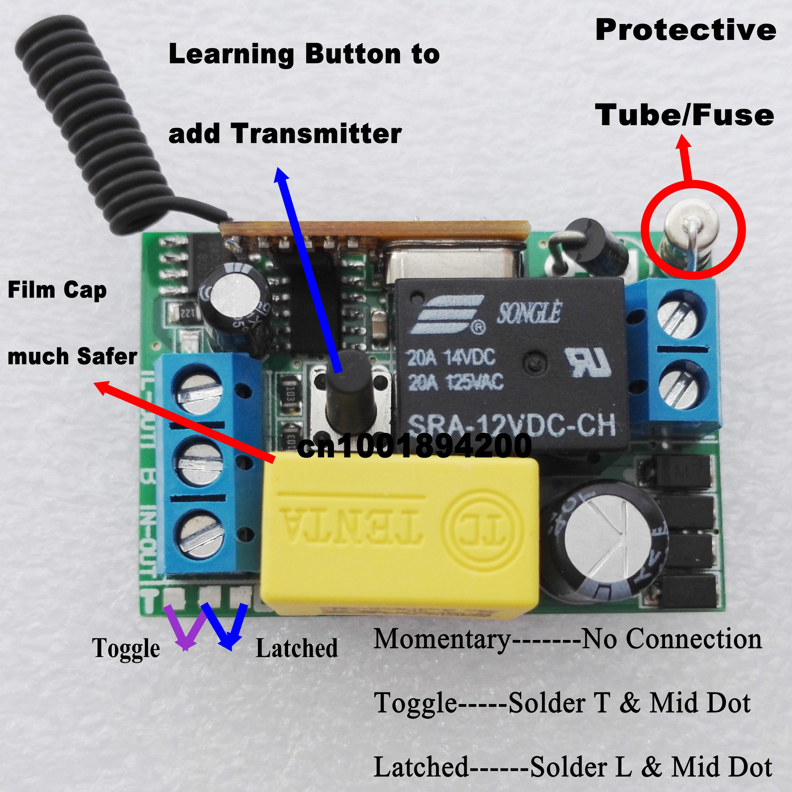315//433 MHz 110V 220V Wireless Switch and Receiver Kit Learn Code Control ON//OFF