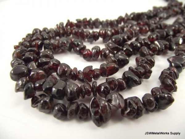 Small Garnet Chip Beads  Red 4 -7 mm 15 inch Strand