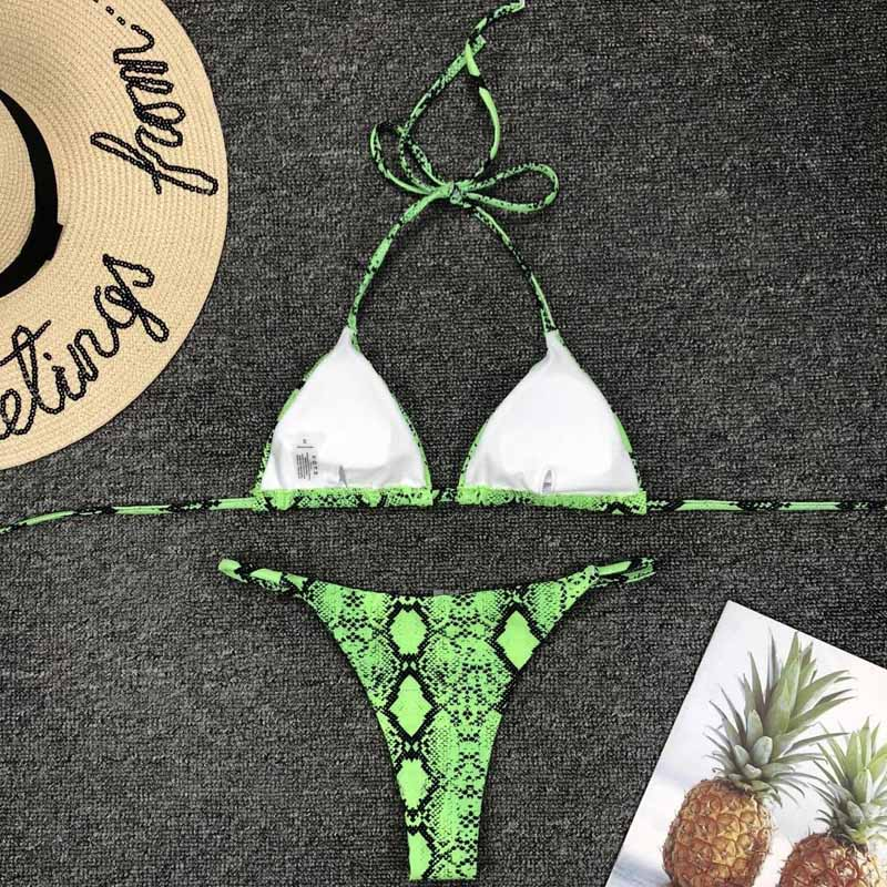 HTB1oYeiO3HqK1RjSZFPq6AwapXaG 2019 New High Waist Bikini set Yellow Bandeau Swimsuit Sexy Print Thong Bikini Women Swimwear Two-pieces Bather Bathing Suit