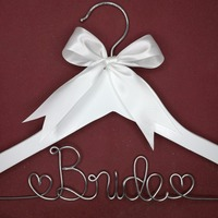 Personalized Wedding Hanger Bridesmaid Gifts Name Hanger Brides Hanger Custom Bridal Gift White Hanger With Bowknot
