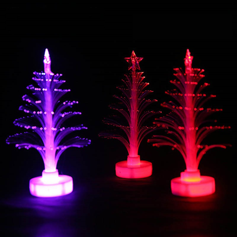 12*4cm LED Luminous Christmas Trees Ornament Flash Light Shining Xmas Tree Decor Glow In ...