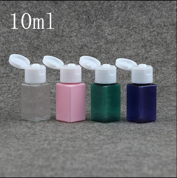10ml blue Brown Plastic Square Bottle Crystal Clear Originales Refillable Flip Top Cap Perfume Water Empty
