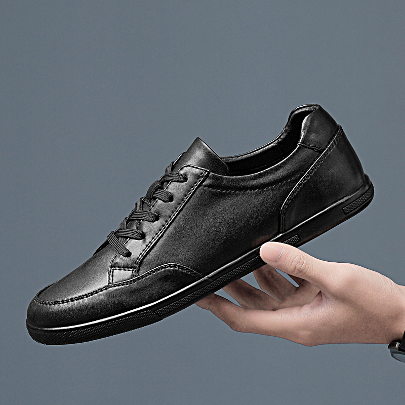 New men casual shoes fashion cow genuine Leather Male fashion Flat with lace up solid black