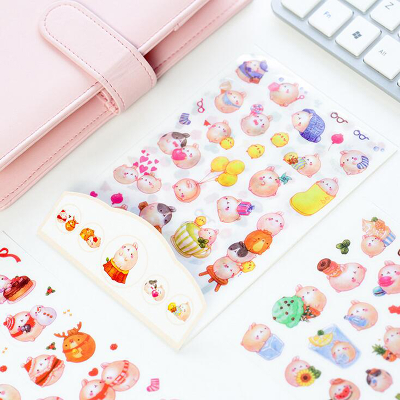 F02 6 Sheets Kawaii Cute Fat Molang Rabbit DIY Decorative Stickers Diary Phone Bottle Decor Stick Label Kids Gift Stationery 14pcs creative kawaii lovely cute self made victoria rabbit animal stickers trolley case computer notebook stickers luggage