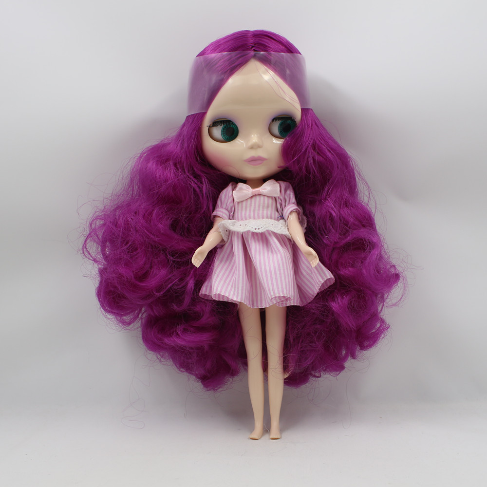 цена Toy Gift blyth nude doll, Purple Hair centra parting Normal Skin Nude Blyth Doll BL732
