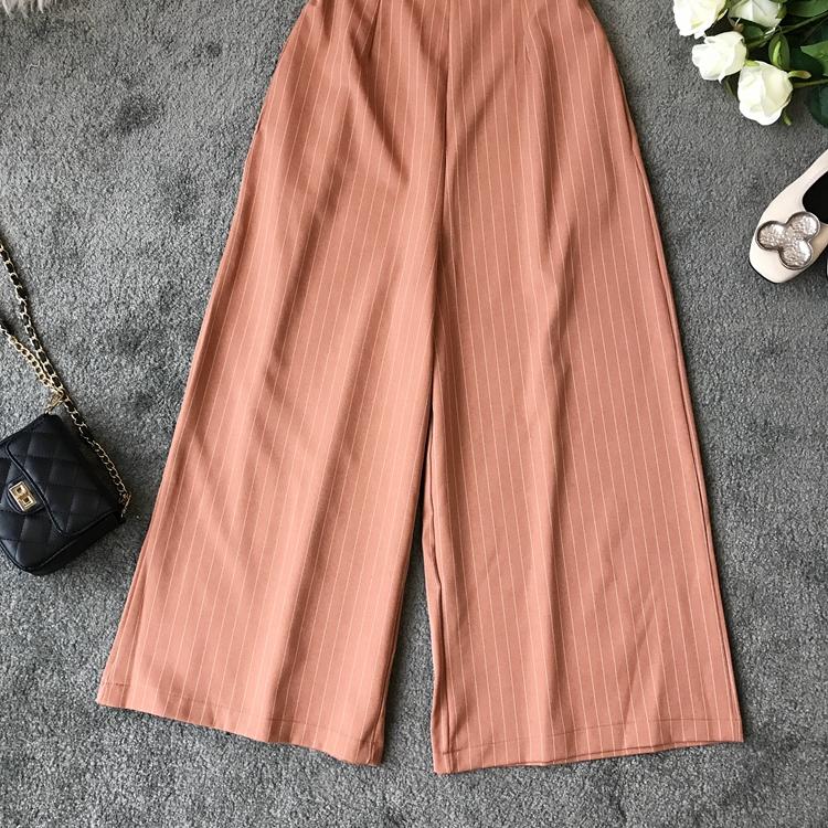 2019 Spring and Summer Korean New Stripe High Waist Open-back Jumpsuit Women Sleeveless Broad-legged Overalls G794 22