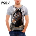 FORUDESIGNS Fashion 3D Animal Print T Shirts Men's Crazy Horse Tshirt Casual Summer Tees Shirt Men Short Sleeve Slim Fit T-Shirt
