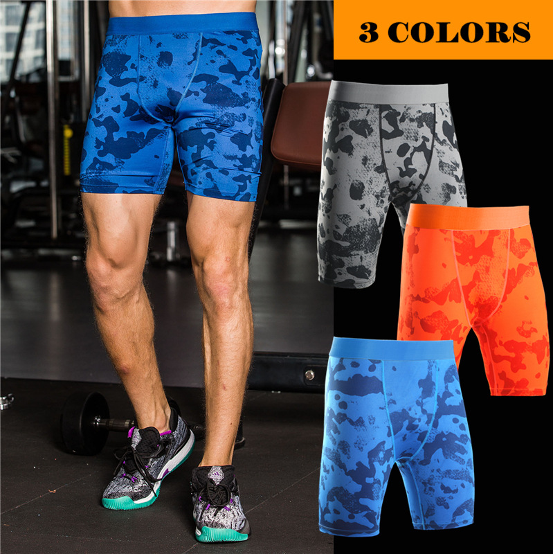 Shorts Men Compression-Tights-Shorts Stretch Fitness Skinny Jogers Camouflage Summer