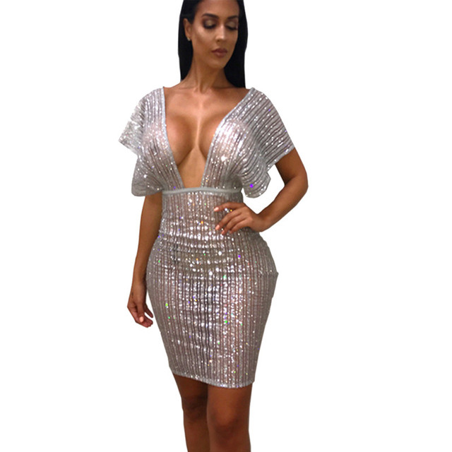 27ce691ac4e Sexy Sheer Silver Glitter Sequin Party Dresses Women Night Club Going Out  Shiny Dress See Through Mesh Sparkly Bodycon Dress