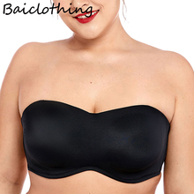 Womens Bra Plus Size Smooth Seamless Full Coverage Invisible Underwire Minimizer Strapless 34 36 38 40 C D DD E F G