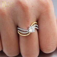 BOAKO Crystal Rings For Women Zircon Ring Wedding Engagement Party Gold Crown Luxury anillo mujer Z5
