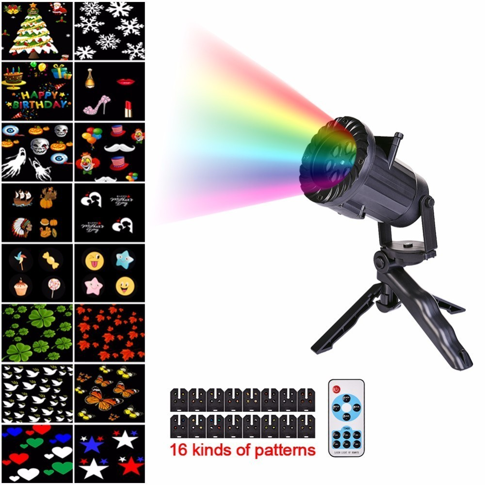 16 Patterns Christmas Laser Snowflake Projector Outdoor LED Waterproof Disco Lights Home Garden Star Light Indoor Decoration