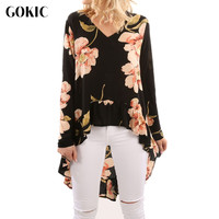 GOKIC Women Flower Print Chiffon Shirt 2017 Autumn Long Sleeve V Neck Loose Blouse Ladies Fashion