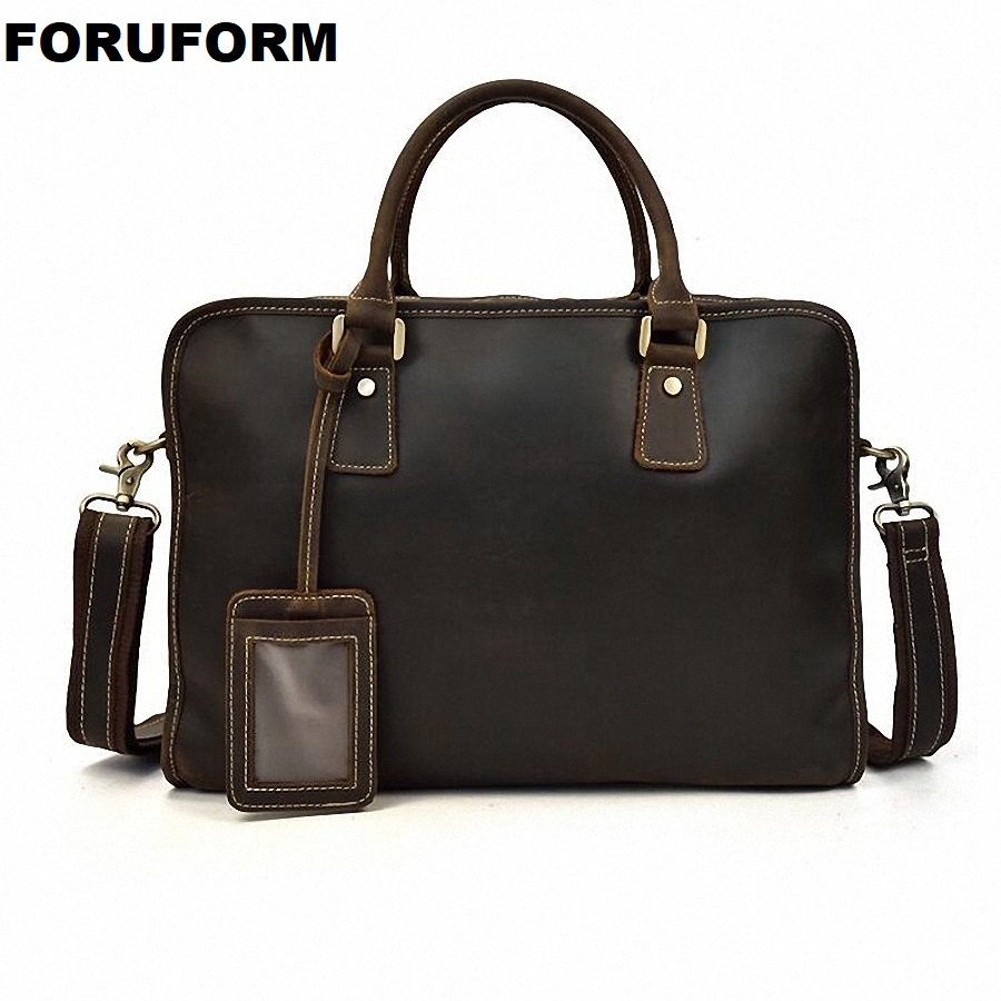 Vintage Crazy Horse Genuine Leather Men Briefcase Business Bag Large Leather Briefcases Men 14