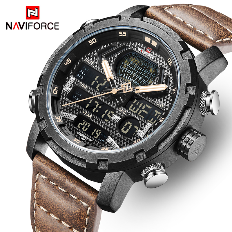 Mens Watches To Luxury Brand Men Leather Sports Watches NAVIFORCE Man Quartz Digital Waterproof Military Watch Relogio Masculion