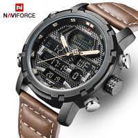 Mens Watches To Luxury Brand Men Leather Sports Watches NAVIFORCE Man Quartz Digital Waterproof Military Watch Relogio Masculion