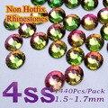 Free Shipping Nail Art  Rhinestone Rainbow SS4(1.5--1.6mm) 1440pcs/pack Non Hotfix Flatback Crystal Stones