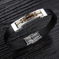 Fashion Two Carved Golden Line Leather Bracelet Men Gold Plated Mens Bracelets Homme Charms Bracelets for Women Men