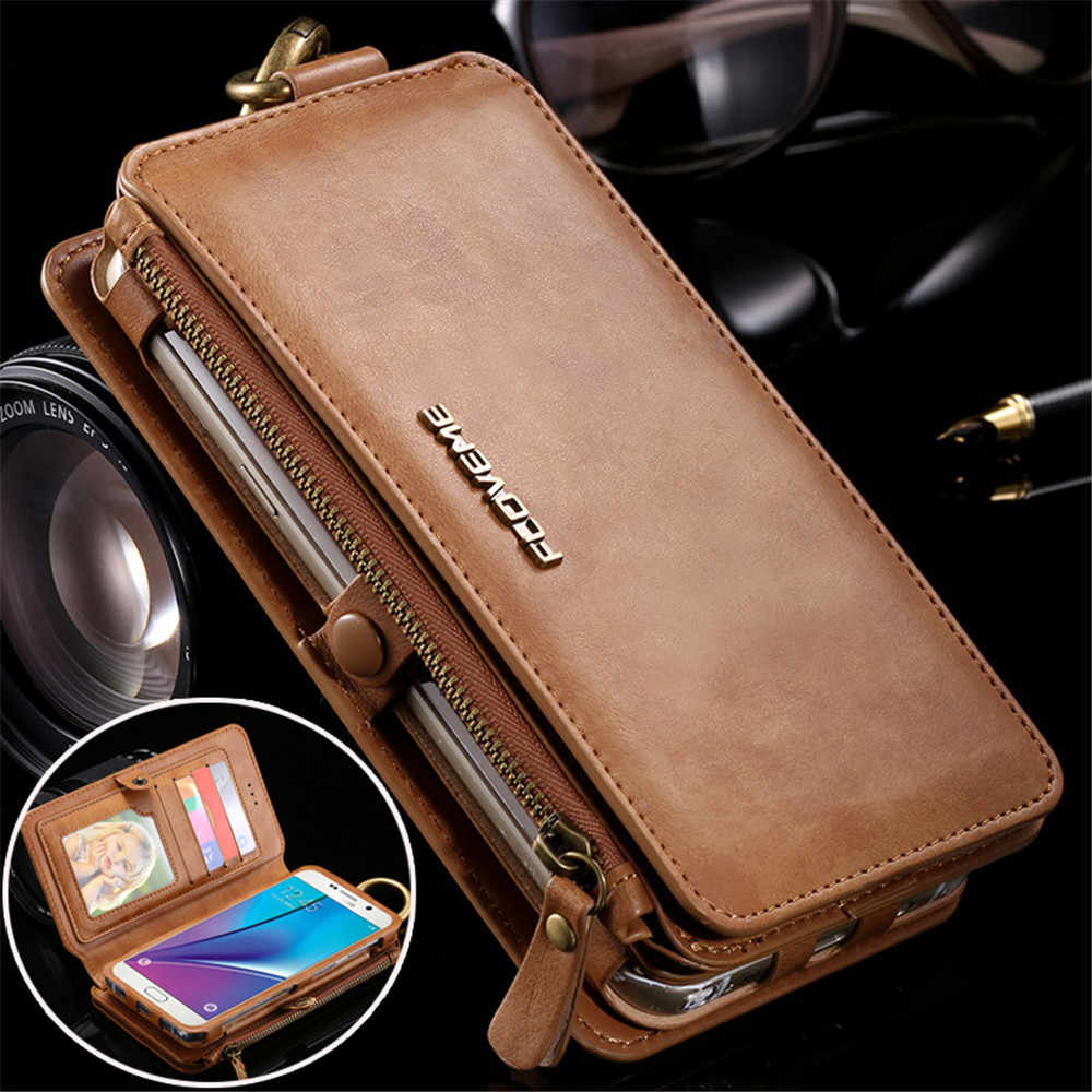 Leather Wallet Case for Samsung Galaxy Note 9 3 4 5 S7 Edge Vintage Business Multifunction 2 in 1 Phone Case for iPhone 8 7 Plus