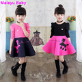 Malayu Baby  Europe 2016 new fall fashion long-sleeved cotton cartoon children in the air girl stitching cotton dress,